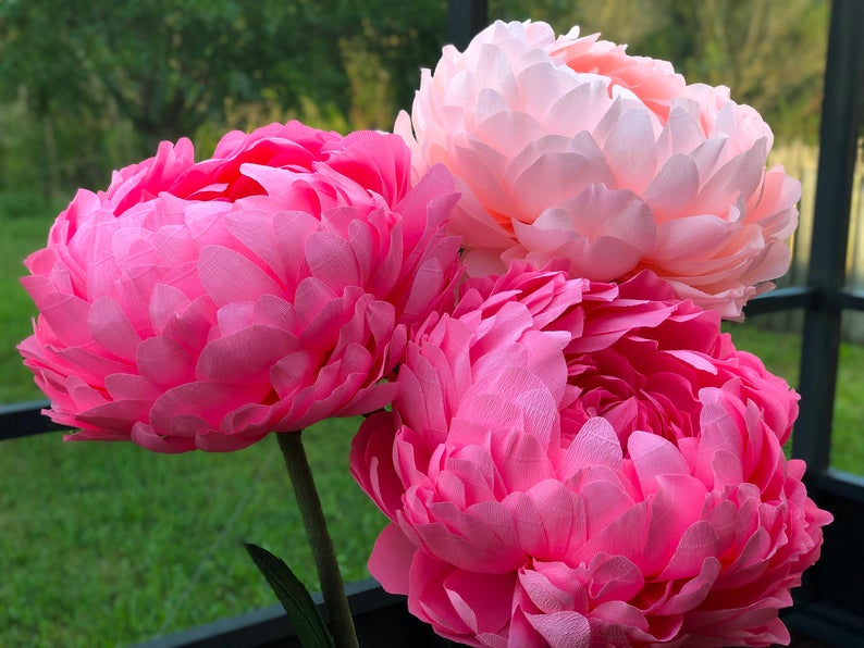 Large Paper Flowers on Stems | Big Paper Peony | Alice in Wonderland Party Decor | Giant standing Flowers | Wedding Flowers |Flower Backdrop