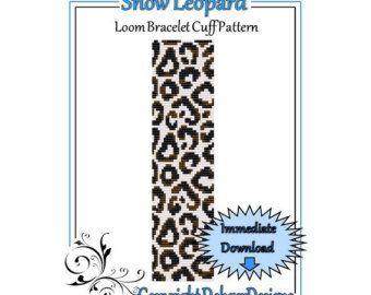 Bead Pattern LoomBracelet CuffWhite Leopard par LoomTomb sur Etsy