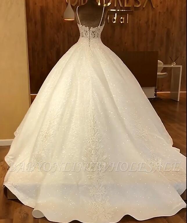 Bretelles spaghetti robes de mariée en dentelle scintillante en ligne | Robe sans manches à paillettes …   – Love Mr. Brown