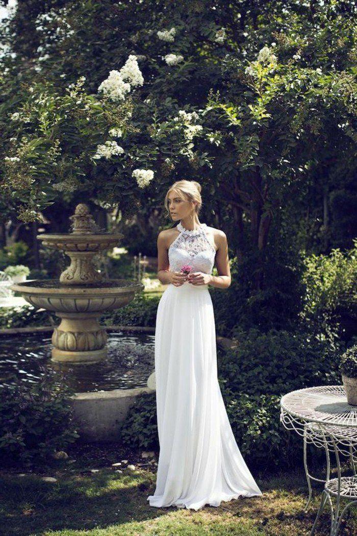 robe de mariage civil longue en blanc, magnifique modele robe mariage longue