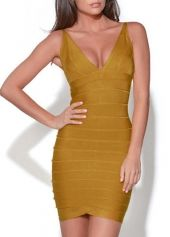 Spotlight Open Back Zipper Closure Tank Dress Yellow