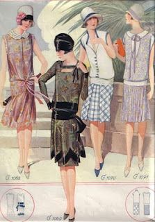 Day Dresses flappers. 1920's. Just past Edwardian.