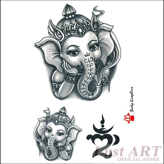 Good Luck Elephant Tattoo: 4-PCS-New-flesh-trendy-temp-cute-small-elephant-tattoos