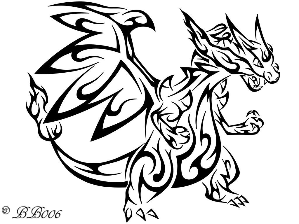 Mega charizard y coloring pages - Tribal Mega Charizard X By Blackbutterfly006