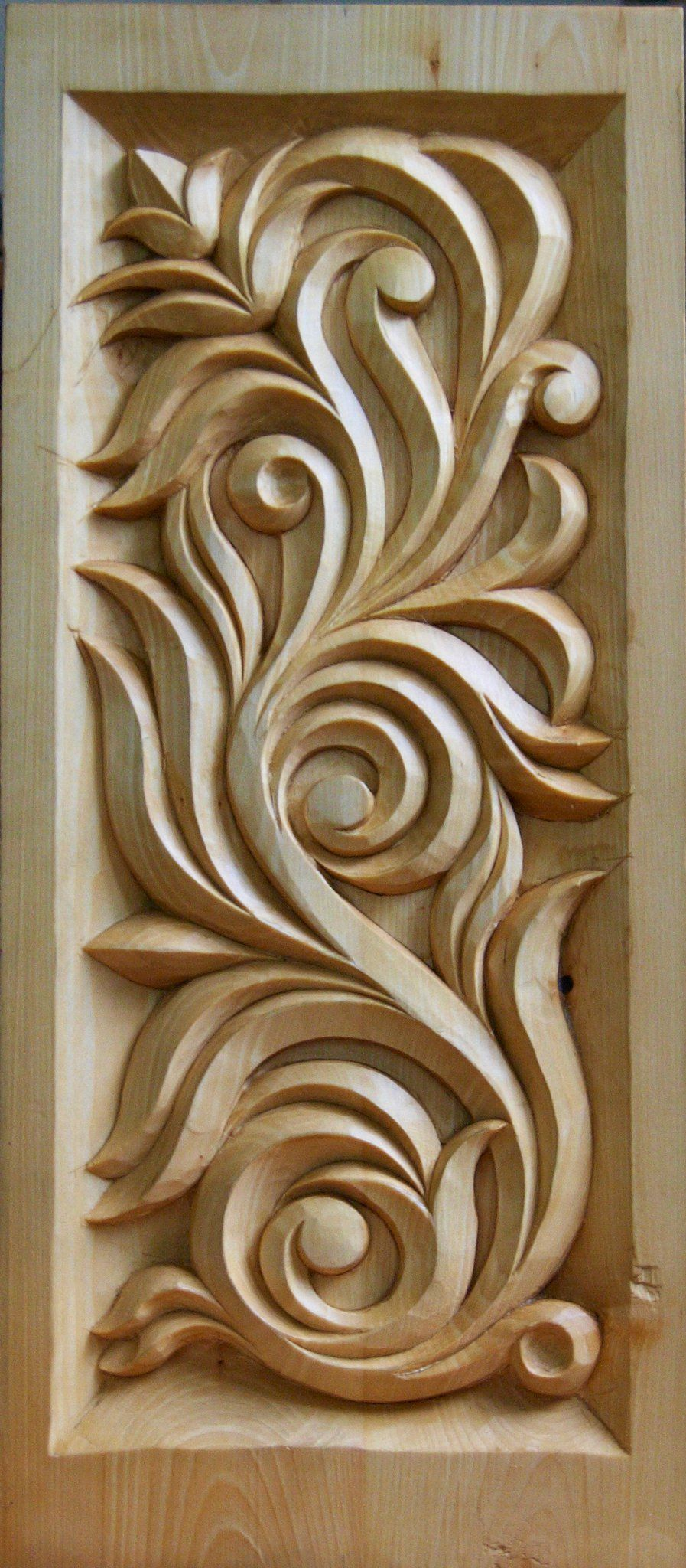 Wooden carved panel nicely done woodcarving