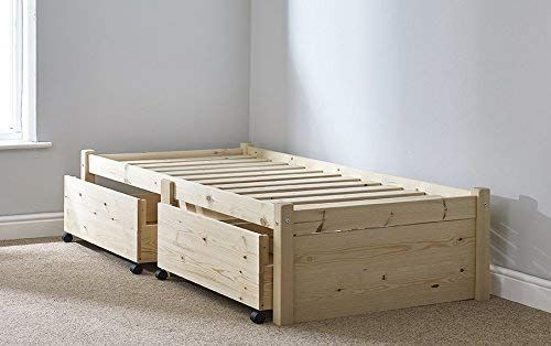 3ft Storage Studio Solid Bed Frame With Two Drawers In 2020 Wooden Bed Frames Bed Frame Single Wooden Beds