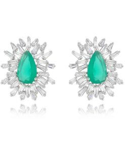 brinco verde esmeralda leitosa semi joias luxo