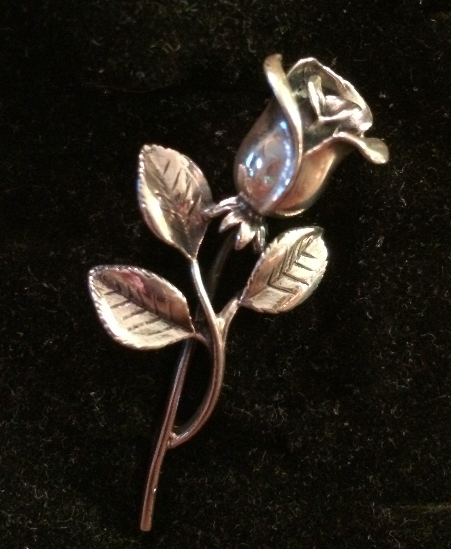 Sterling 3-D Rose Pin Brooch
