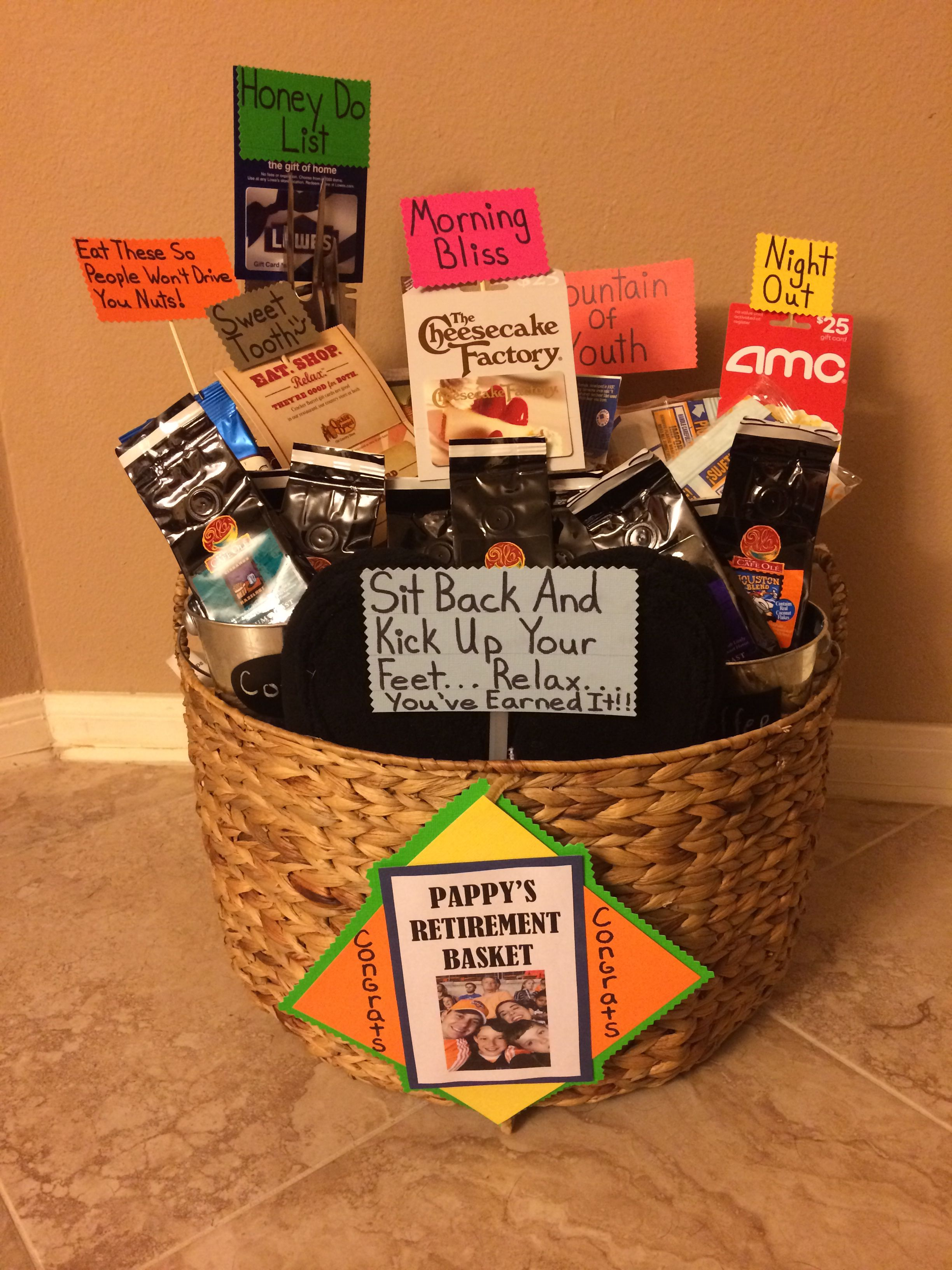 retirement gift basket | great ideas | retirement gifts, retirement