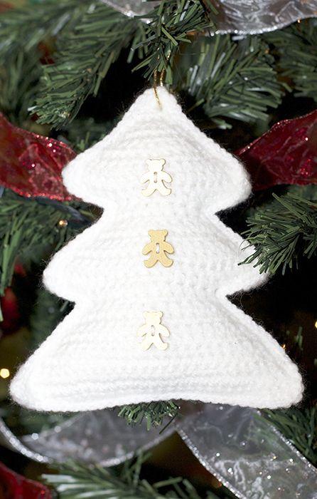 Rbol blanco de navidad a ganchillo amigurumi patr n - Arboles de navidad blanco ...