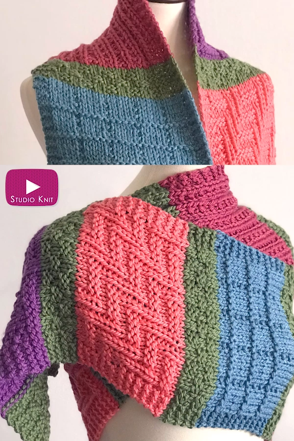 Photo of Easy Color Block Scarf Knitting Pattern