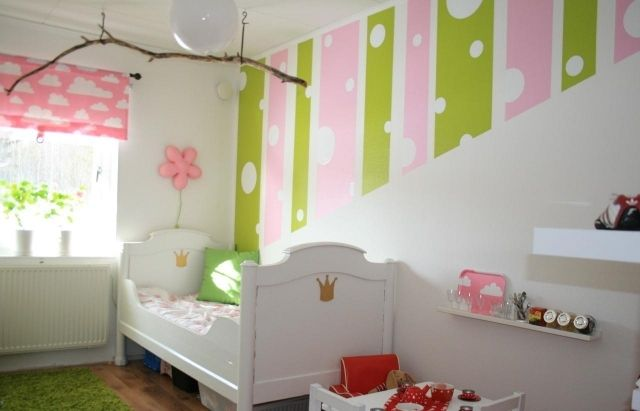 Genial Wandfarben Kinderzimmer Mädchen Grün Rosa Streifen Punkte Muster