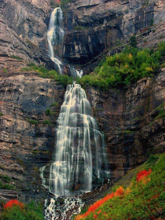 Bridal Veil Falls A Photo From Utah West Trekearth Waterfall Utah Travel Famous Waterfalls
