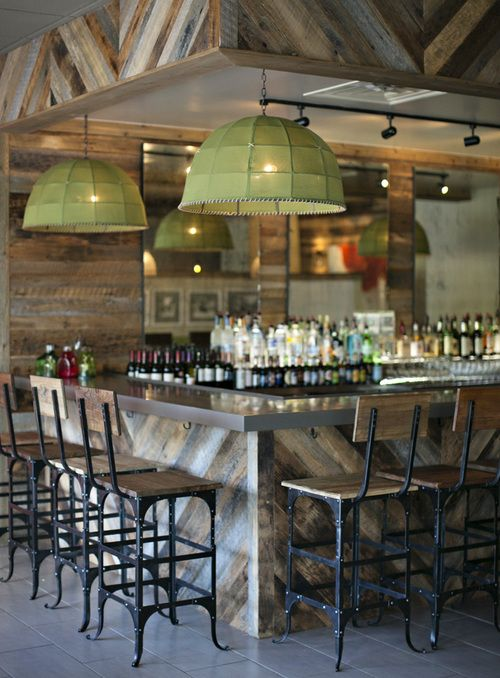 Chevron patterned reclaimed wood bar area with steel tabletop and chevron patterned reclaimed wood bar area with steel tabletop and accents hanging green glass lighting aloadofball Images