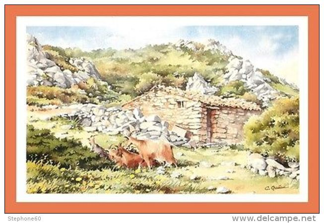 A619 513 Les Chevres Aquarelle De Christian Graniou Peinture