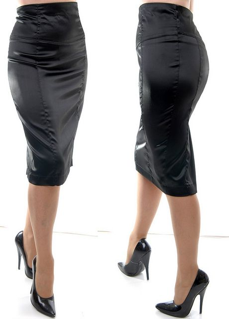 Black Satin Pencil Skirt and High Heels - yummy! | I want that ...
