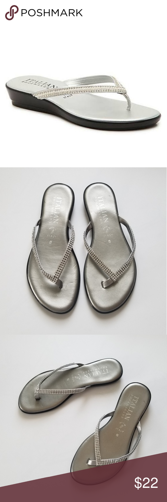bd042804456 Women Medley Wedge Sandal -Silver Metallic This sandal silhouette is  fashioned with rhinestone straps and