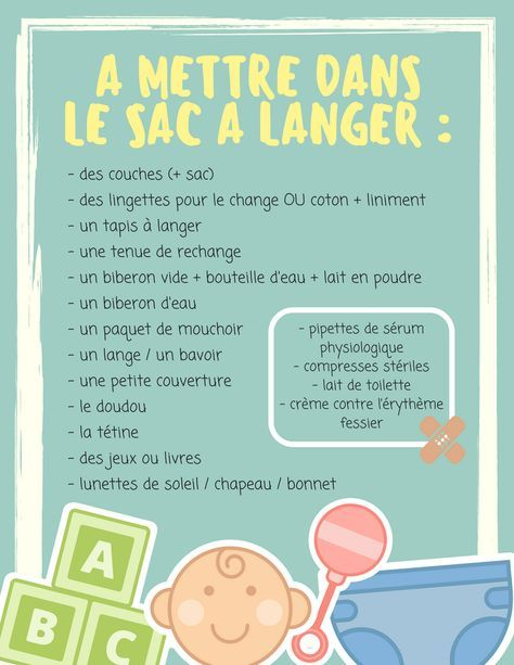 les indispensables de mon sac langer b b baby checklist baby education et bebe baby. Black Bedroom Furniture Sets. Home Design Ideas