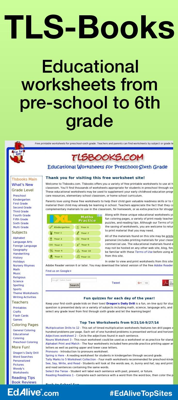 TLS-Books | Free printable worksheets, Printable worksheets and Pre ...