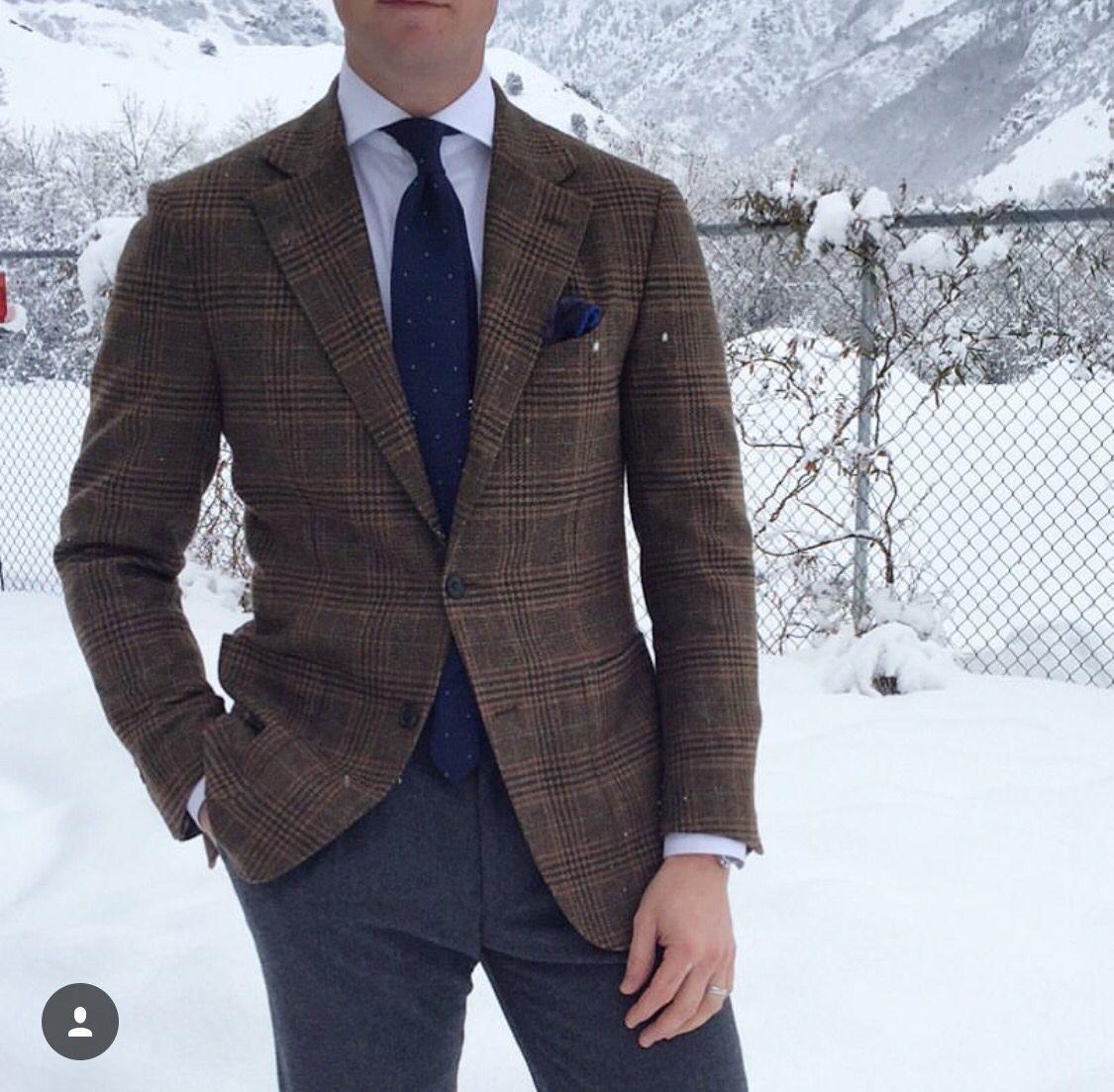 Brown blazer with gray pants