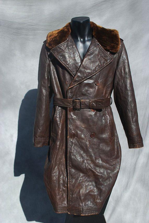 ca4fd6c72 Vintage 40's WWII leather officer men's overcoat coat trench coat ...