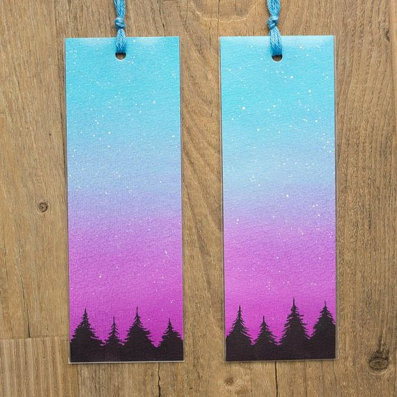 Watercolor Bookmark Galaxy Forest Hand Painted Pines Dusk