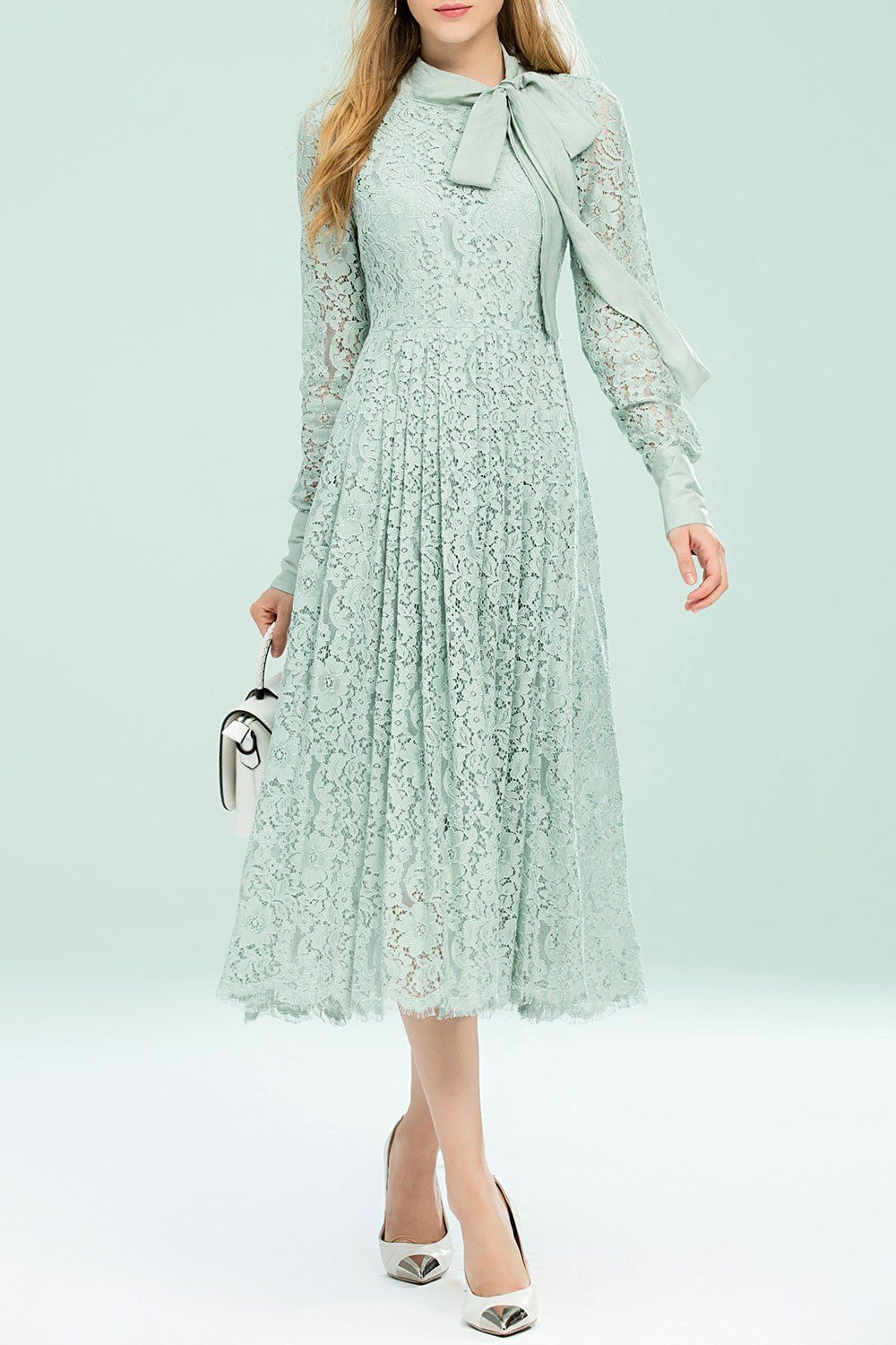 Light green lace dress  Bellywear Light Green Bow Collar Pleated Lace Dress  Midi Dresses