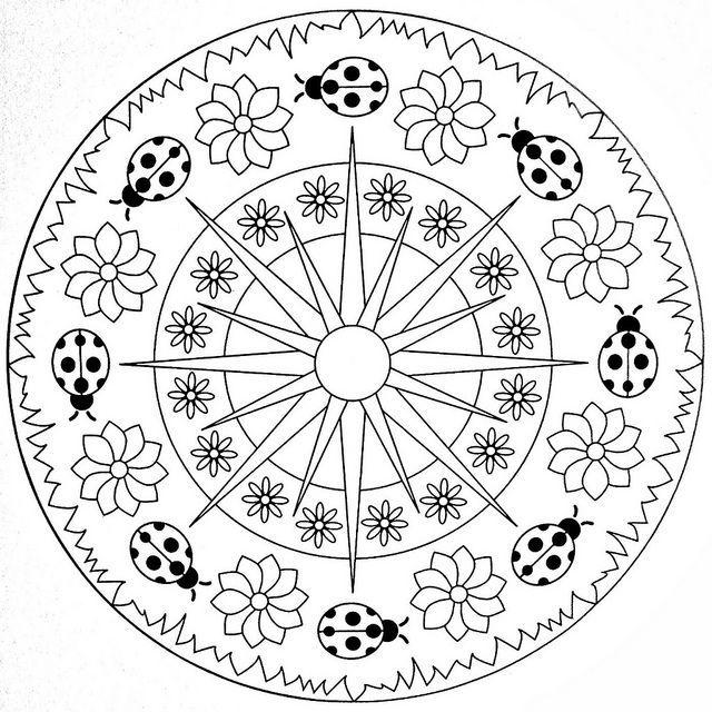 Coccinelle Sole E Fiori Pagine Da Colorare Mandala Mandala Disegni Da Colorare