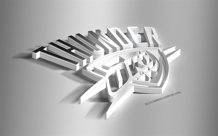 new product 532af 34989 Download wallpapers Oklahoma City Thunder, 3D steel logo ...