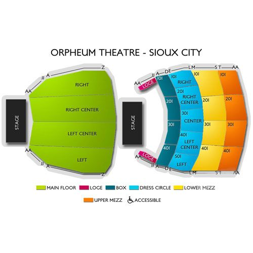 sioux city orpheum theater seating chart - Google Search Orpheum