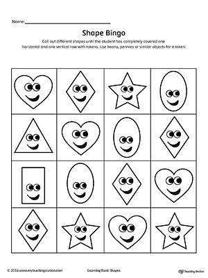 Geometric Shape Bingo Printable Card Heart Diamond Oval Rectangle Star Bingo Cards Printable Shapes Worksheets Shapes For Kids Star shape preschool worksheets