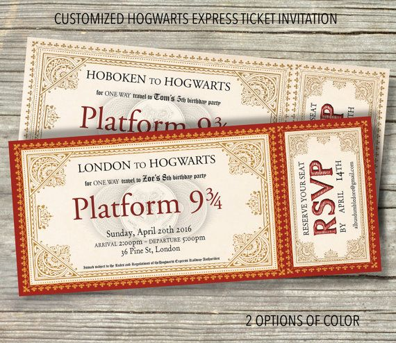graphic relating to Hogwarts Express Ticket Printable named Custom made HOGWARTS Categorical Ticket Birthday Occasion Invitation