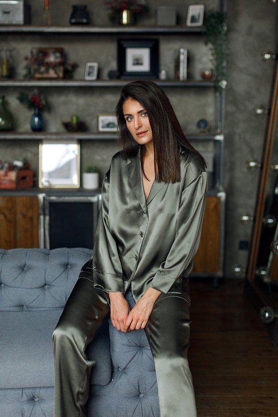 2019 Women New Sexy Satin Lace Pajama Sets Sleep Lounge