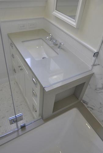 . silestone counter  undermount sink  no lip   Bathroom Remodel