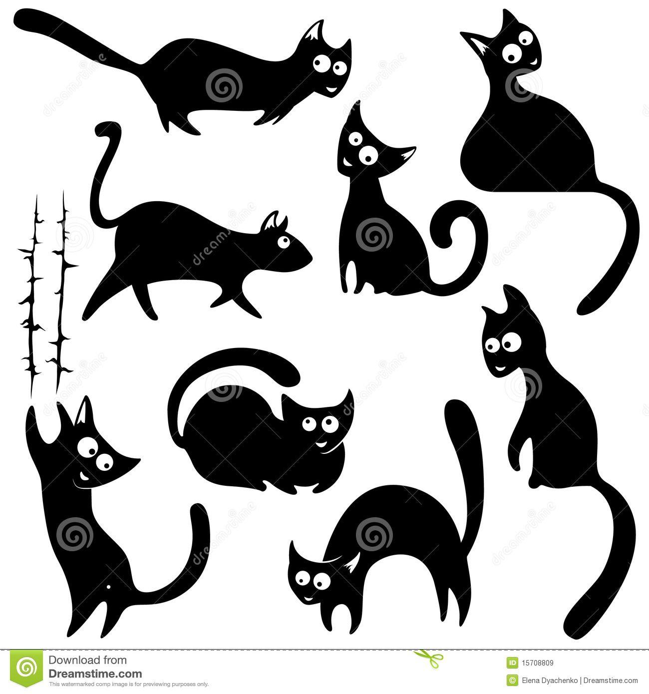 Рисунки силуэта кота
