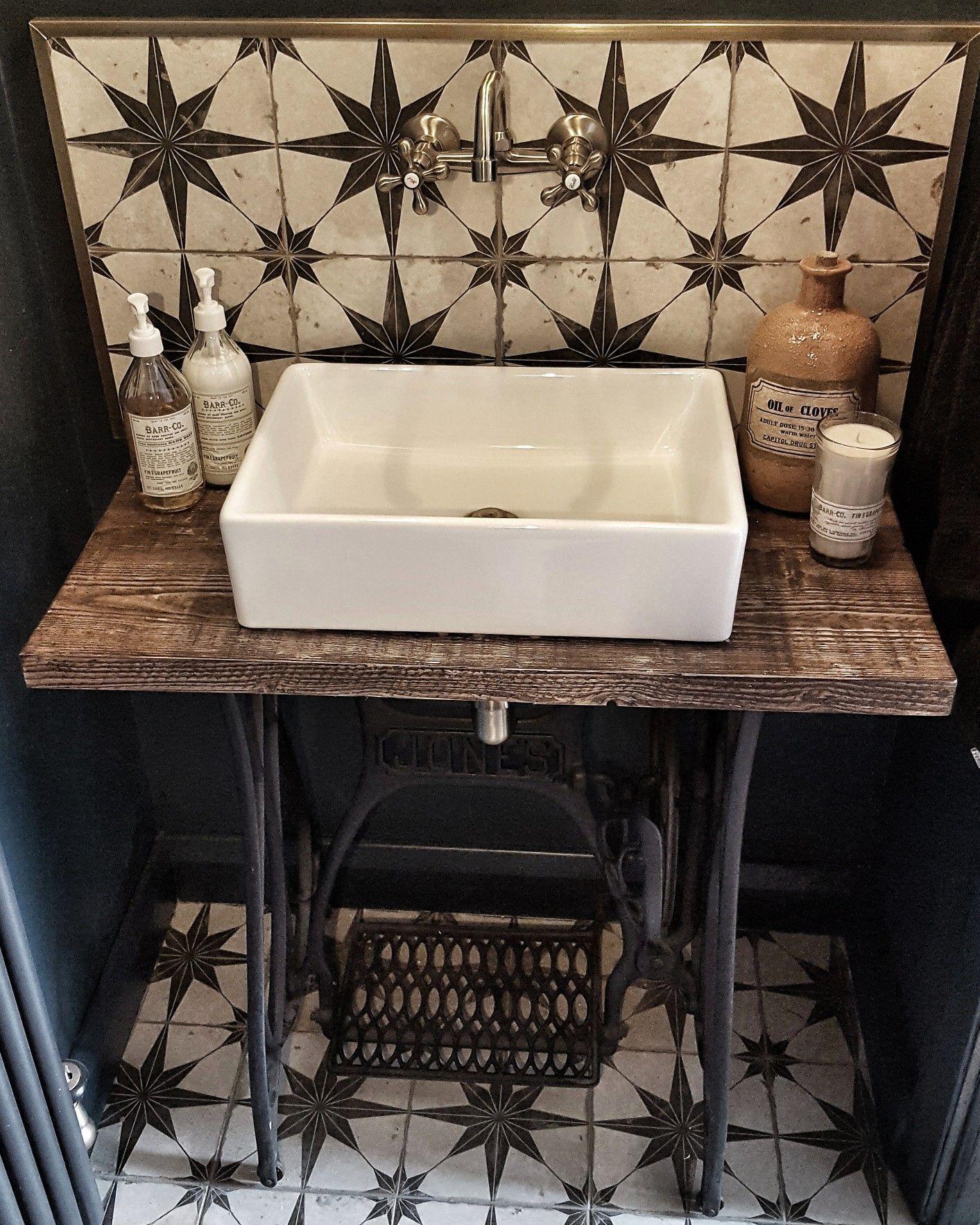 Sewing Machine Table In Bathroom, Star Tile Backsplash