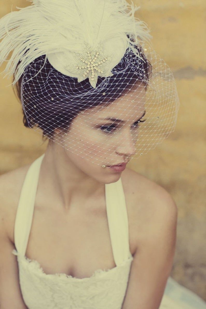 Wedding Cocktail Hat Rhinestones and French Veiling in Ivory