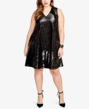 85fa730b9d Rachel Rachel Roy Curvy Plus Size Reversible Sequined Swing Dress - Black 2X