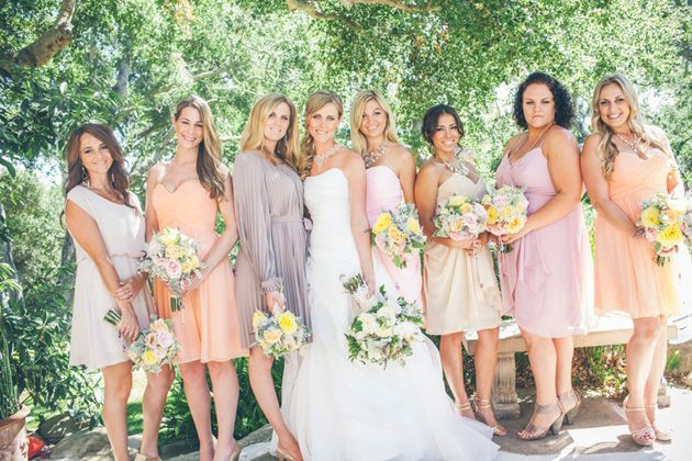 Bridesmaids Dresses In Shades Of Soft Pink Peach And Mauve
