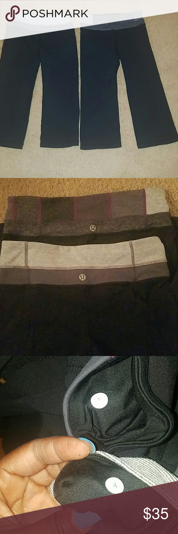 Lululemon Groove crops Pre-owned Lululemon Number 4 2 for 1 lululemon athletica Pants Ankle & Cropped