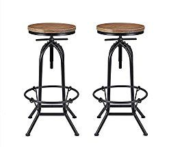 91f0642a1ce1d VILAVITA Set of 2 27.5″ to 31.5″ Adjustable Height Pine Wood Swivel Bar  Stool