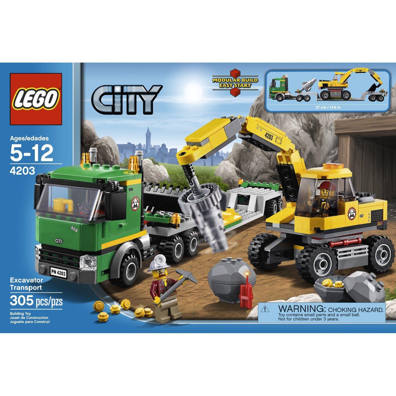 Lego City 4203 Excavator Transport Toys Games Amazon Com Lego City Lego City Police Lego City Sets