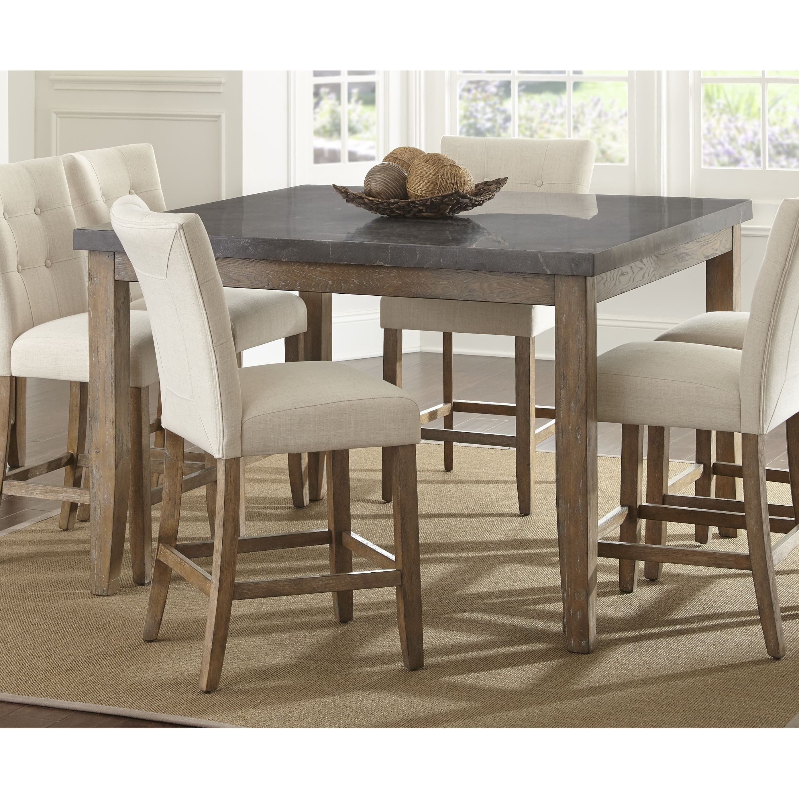 Danni 54 Inch Square Counter Height Dining Table With Stone Top By