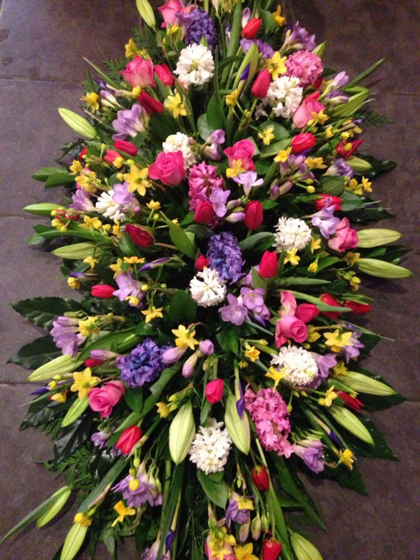 Mixed Spring Casket Spray Casket Floral Arrangement In 2018