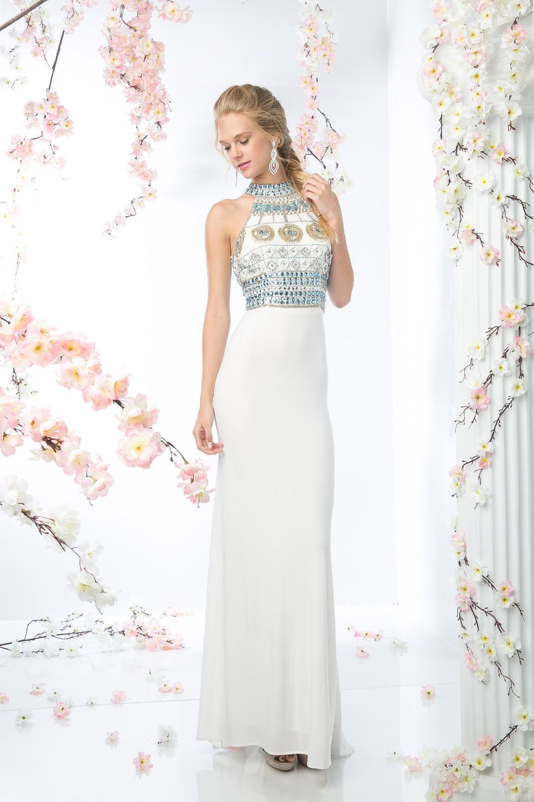 Sexy long halter prom dress modern fitted formal dresses