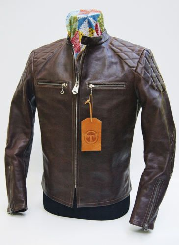 3569f696f Thedi Phenix Quilted Buco J-100 Cafe Racer Espresso Buffalo Leather ...