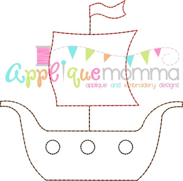 Pirate Ship Vintage Embroidery Design | Baby Quilts | Pinterest ...