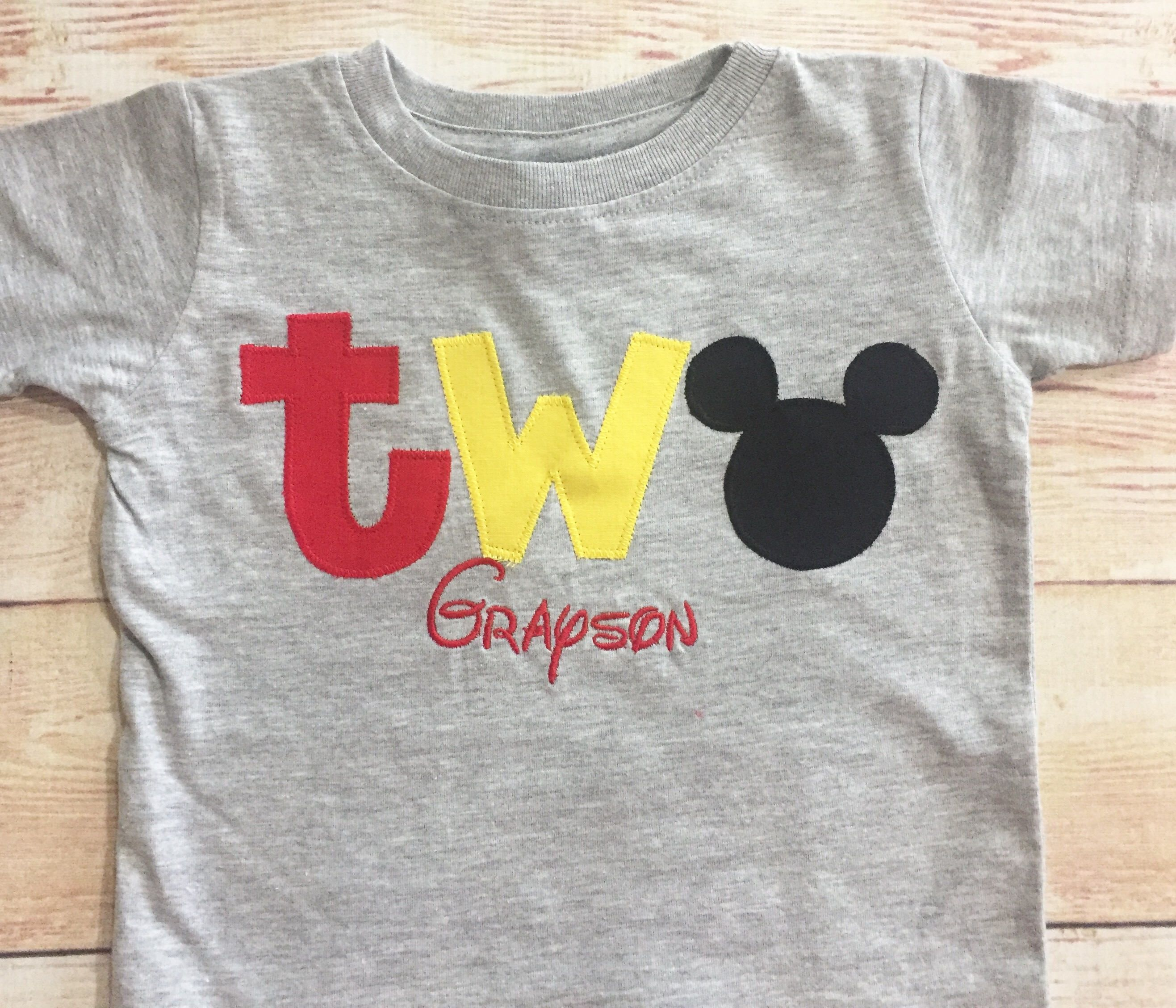 Mickey Mouse 2nd Birthday TWO Shirt Boy Outfit Second
