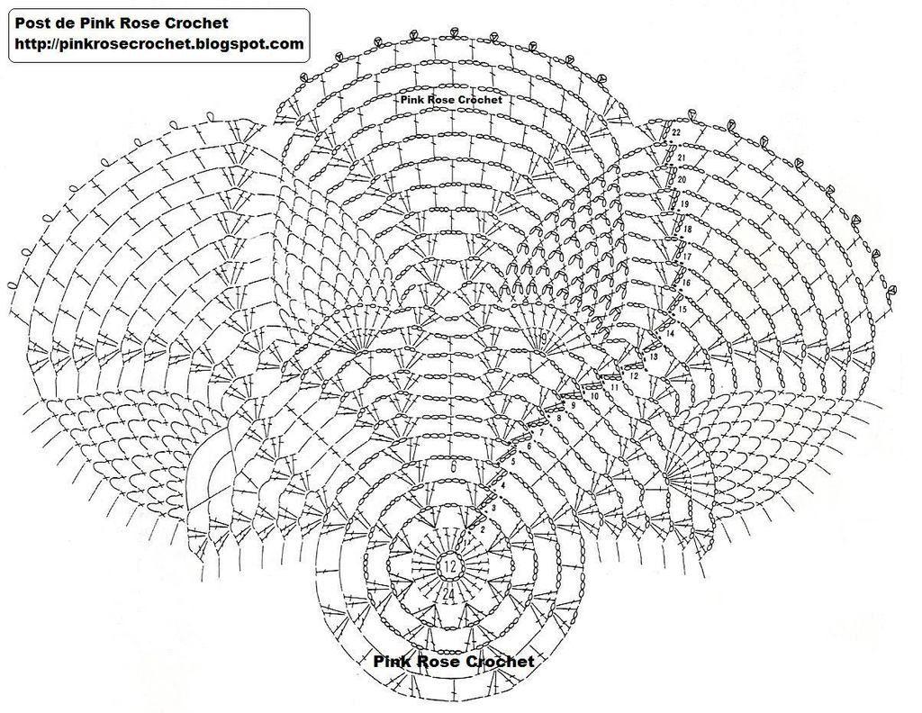 Toalhinha- Pineapple Doily. Gr. Pink Rose Crochet | Stitchery ...