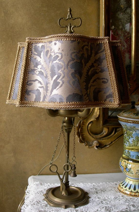 Vintage Italian Floine Brass Table, Antique Lamps Made In Italy